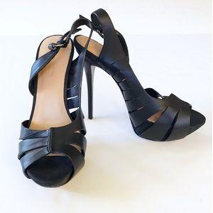 EUC LAMB Black Open Toe Heels